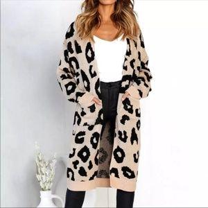 JUST IN! Leopard Print Long Knit Cardigan